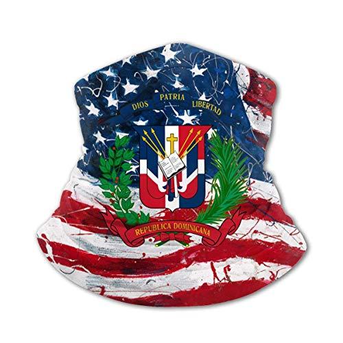 WANZHOU Bufanda Multifuncional Bandera de República Dominicana Bufanda cálida al Aire Libre Bufanda Deportiva a Prueba de Viento y Polvo Negro
