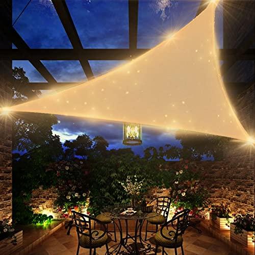 Sonnensegel Dreieckig Wasserdicht Sun Sail Rechteckig mit Led AußEn Garten Solarlampen Sun Protection Breathable Uv Protection for Camping Patio Balcony Garden Terrasse und Grill,Dreieck beige,3×3×3m