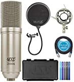 MXL 2006 Large Gold Diaphragm Condenser Microphone for Vocals, Acoustic and Electric Guitars, Percussions Bundle with Blucoil Pop Filter, 10-FT Balanced XLR Cable, and 5-Pack of Reusable Cable Ties