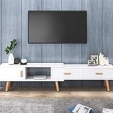 KaminHome - Mueble TV Wenda Extensible Medida Ajustable Soporte televisión de Madera Estilo nórdico escandinavo Moderno con cajones (Blanco, 164-220 cm)