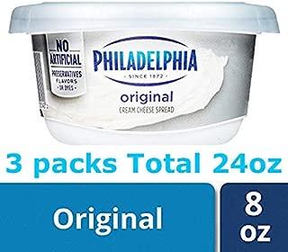 Philadelphia Plain Cream Cheese Spread, 8 oz X 3 pack Total 24oz