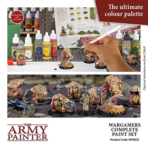 The Army Painter Wargamers Complete Paint Set - Miniature Painting Kit with 124 Model Paints, 5 Miniatures Paint Brushes and a Painting Guide - Miniature Paint Set for Miniature Figures