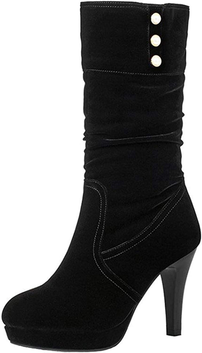 Gedigits Women's Trendy Beaded Pointy High Heel Platform Round Toe Faux Suede Pull On Slouchy Mid Calf Boots Black 7 M US
