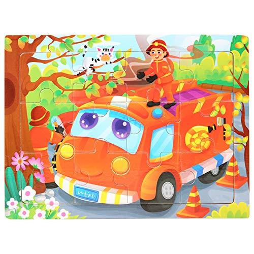 Houten puzzel 2 jaar en ouder Speelgoed Cartoon Cartoon brandweerman brandweerwagen Houten legpuzzels Leren speelgoed voor kinderen voor jongens en meisjes cadeau 11 * 15 * 0.3 cm