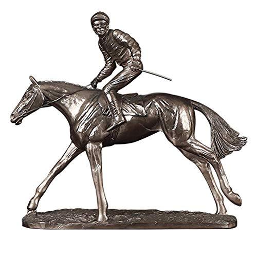 HKX Decoraciones de estatuas, Adorno de Estatua de Jockey de Carreras de Caballos Jockey Steeplechaser Estatuilla Escultura, Decoración del hogar Regalo para cumpleaños Aniversario, D