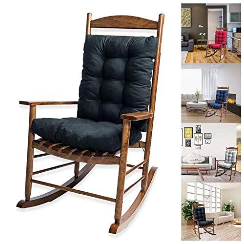 2 PCS Rocking Chair Cushion Épais Patio Lounger Cushion Memory Foam Garden Chair Pad Antidérapant avec Liens de Dossier (Rouge)