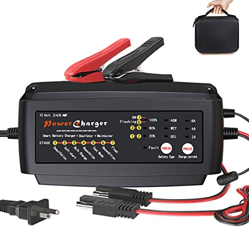12V 2A 4A 8A Battery Charger Multi Amp Maintainer Portable Auto Trickle Float Deep Cycle 7 Steps Charging for Motorcycle Lawn Mower Automotive Boat RV SLA ATV AGM Gel cell Lead Acid Batteries
