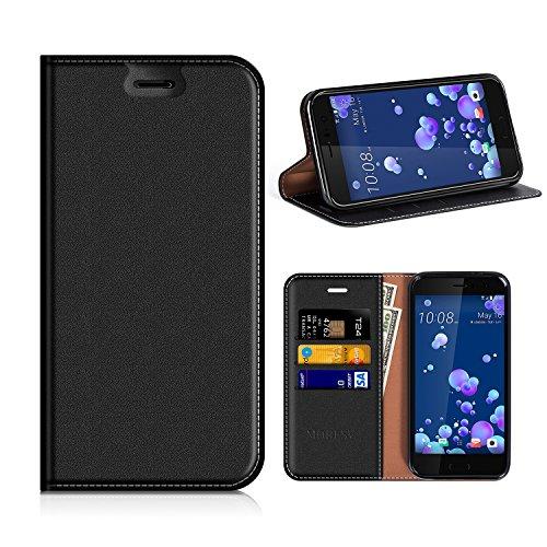 MOBESV HTC U11 Hülle Leder, HTC U11 Tasche Lederhülle/Wallet Hülle/Ledertasche Handyhülle/Schutzhülle mit Kartenfach für HTC U11 - Schwarz