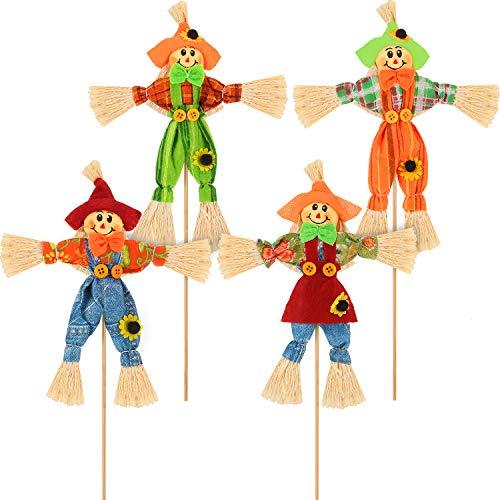 Blulu 4 Piezas de Cosecha de Halloween Espantapájaros Decoración Otoño Espantapájaros Jardín Pequeño Otoño Espantapájaros Decoración para Acción de Gracias, Fiesta, Aire Libre