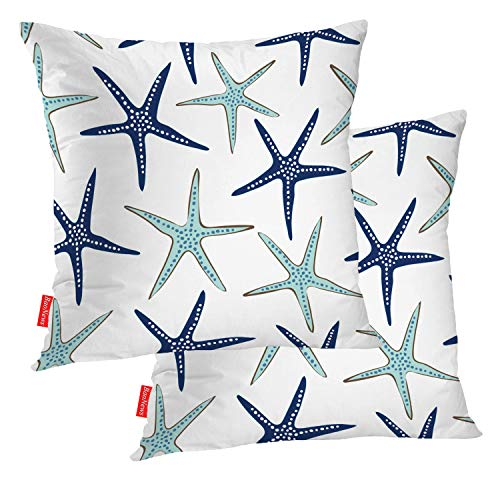 BaoNews Coastal Nautical Pillow Covers, Coastal Nautical Starfish Repeat Pattern Navy Blue Square 18 x 18 Inches Decorative Throw Pillow Covers Cotton Cushion for Sofa Bedroom Car, Blue 07, Set of 2