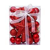 Weilov Adornos de Navidad Árbol de Navidad Adornos Clásicos 30pcs Bolas de Navidad Árbol Superior Estrella Regalo Set de Navidad Decoración del Hogar
