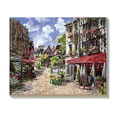 KKASD Bricolage Pigment numérique Peinture à l'huile Peinture Adulte France Caen Salon Boutique décoration Cadeaux d'anniversaire 40x50cm avec Cadre