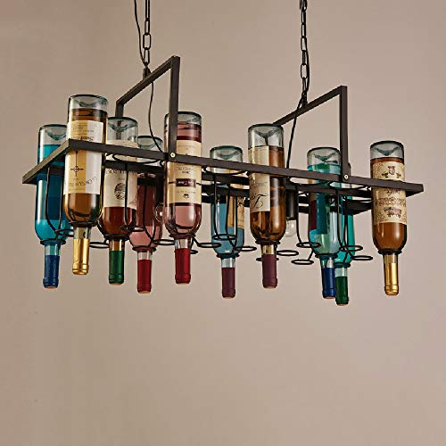 Tritow American Industrial Style Bar Chandelier Retro Restaurant Creative Personality Iron Art Wine Bottle Glass Lamp Pendent Lamp Suspension Light 2-Lights and 10 Bottle