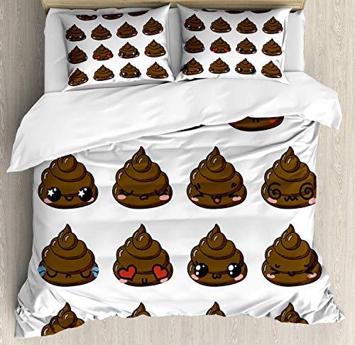 Set copripiumino Emoji cacca, turd con diverse emozioni Triste confuso felice divertito, set biancheria da letto decorativo in 3 pezzi con 2 federe per cuscino, bianco cioccolato