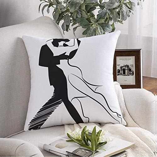 N\A Dekorative Square Throw Kissenbezug Tango Hut Tanz Isolierte Mann Design Frau Symbol Paar Tanzen Menschen Sport Erholung Romantische weiche Kissenbezug für Schlafzimmer Sofa Couch