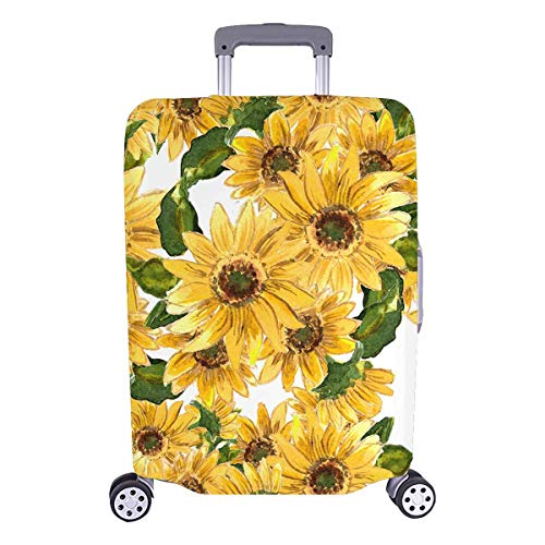 InterestPrint Yellow Flowers Sunflower Travel Luggage Case Suitcase Cover