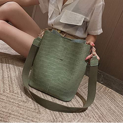 Without 2021Crocodile Leather Messenger Bag Women's Shoulder Bag Handbag Luxury PU Leather Bag Bucket Bag Handbag (Color : Light Green, Size : 24x16x28cm)