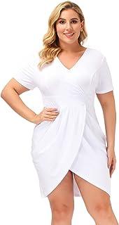 Hanna Nikole Women's Plus Size Deep V Neck Cotton Bodycon Wrap Dress with Front Slit
