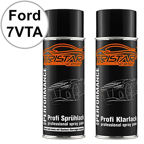 TRISTARcolor Autolack Spraydosen Set für Ford 7VTA Frozen White/Frostweiss Basislack Klarlack Sprühdose 400ml