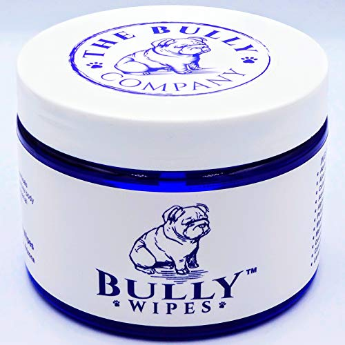 Bully Wipes - Bulldog Wrinkle Wipes Specifically for Bulldog Breeds All Natural Organic Formula Refreshing Botanical Scent - Removes Dirt Bacteria Yeast - Safe to use Around Eyes, Ears, and Wrinkles!