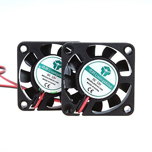 ANMBEST 2点セット 4010サイレント ブラシレス冷却ファン 2ピンブラシレス4CMファンDC 12V 0.1A 40mm X 40mm X 10mm 3Dプリンター部品の冷却用PCケース CPUクーラー スリーブベアリング 9ブレード
