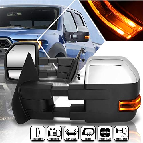 Compatible with Ford F150 04-14 Power+Heated Chrome Towing Mirror w/LED Signal+Puddle Lamp