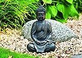 WOMA Deko Buddha Figur Sitzend aus Wetterfestem Polyresin, Dekoration für Haus, Wohnung und Garten, 30cm hoch, Skulptur für Innen und Außen, Braun - 2