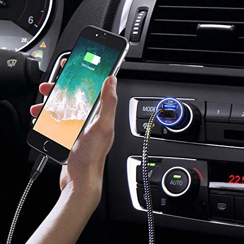 【QuickCharge3.0】JOOMFEEN車載充電器急速充電2usbポートシガーソケットチャージャーライトニングケーブル付usbカーチャージャーforiPhone12ProMax/Mini/11ProMax/XSMax/XR/X/8/7Plus/7/6S/6/5S/5C/SE/5、iPadPro/Air/MiniandMoreなど対応