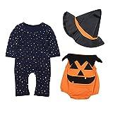 Le SSara Bambino Inverno Zucca Halloween Pagliaccetto Neonato Body Costume Abiti 3 pz (12-18 Mesi,Orange)