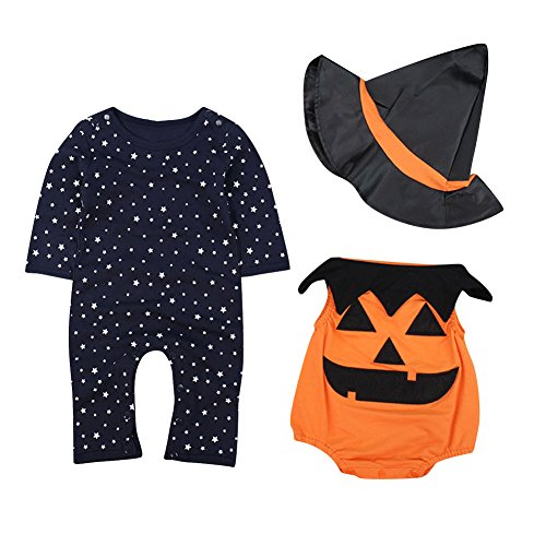 Le SSara Baby Winter Kürbis Strampler Neugeborenen Bodysuit Halloweenkostüm Outfits 3pcs (0-6 Monate, Orange)