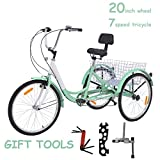 """VANELL 20"""" Foldable Tricycle Bike3 Wheeled Bicycle with Large Size Basket Backrest Seat for Teenager Women Men for Shopping Exercise Recreation (Mint, Non-Foldable 7-Speed)"""