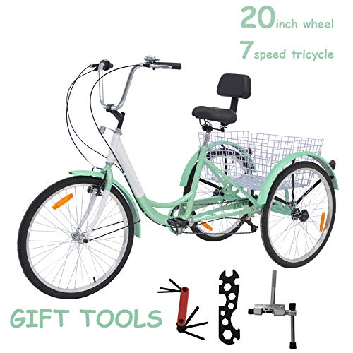 """VANELL 20"""" Tricycle Bike3 Wheeled Bicycle with Large Size Basket Backrest Seat for Teenager Women Men for Shopping Exercise Recreation"""