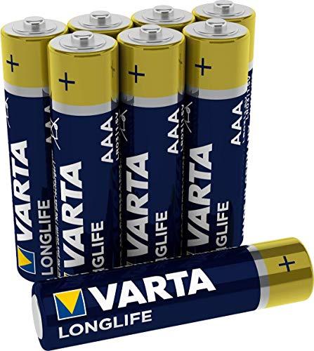 Varta Longlife AAA Micro LR03 Batterie (8er Pack) Alkaline Batterien – ideal für Fernbedienung Radio Wecker und Uhr