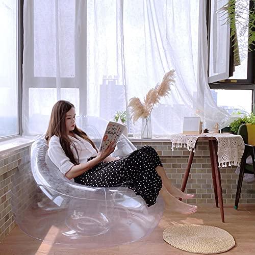 Sofá inflable transparente para sillón, Puf inflable transparente Sofá perezoso, Puf inflable de PVC Puf Sofá perezoso Silla para oficina en casa Camping al aire libre/Picnic/Piscina