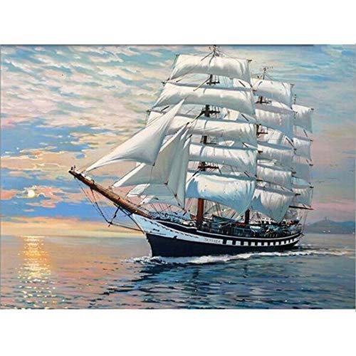 Diy Ölfarbe nach Anzahl Kit, Malerei Malerarbeiten Meer Segelboot Wandkunst Bild Zeichnung mit Pinsel 16 * 20 Zoll Weihnachten Dekor Dekorationen Geschenke (ohne Rahmen)