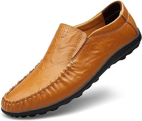 Xuyaowzr Chaussures Décontractées Formelles pour Hommes Mocassins en Cuir Chaussures De Conduite Chaussures Paresseuses,jaunemarron,47