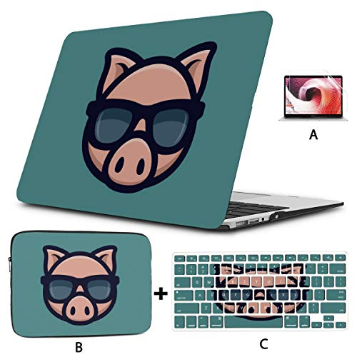 13 Macbook Air Case Cool Pig Sunglasses Icon Piggy Head Macbook Protective Case Hard Shell Mac Air 11'/13' Pro 13'/15'/16' With Notebook Sleeve Bag For Macbook 2008-2020 Version