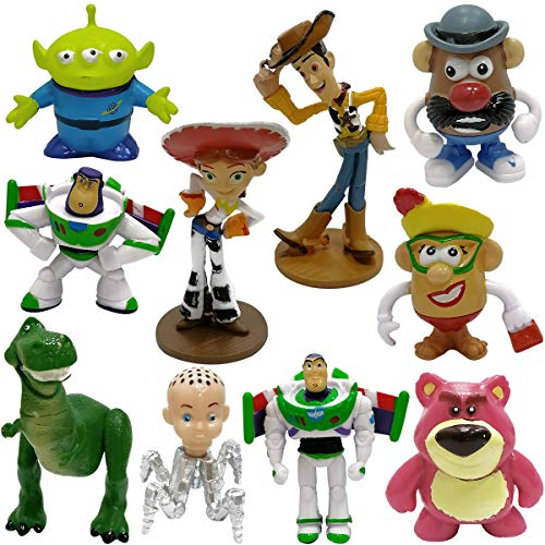Toy Story Toys Set of 10 Action Figures with Woody, Buzz and Rex Fun Party Supplies for Toddlers Cake Topper Set for Birthday
