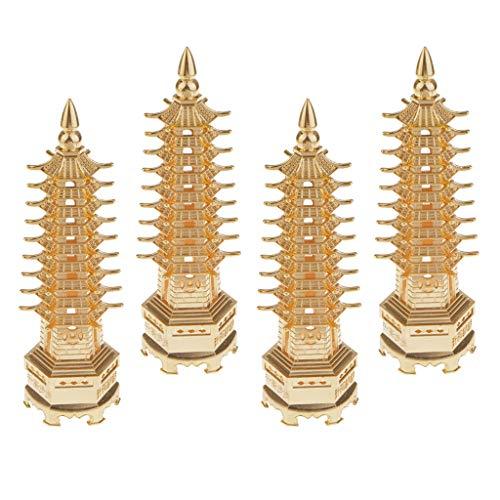 SM SunniMix 4pc Temple Du Bouddhisme Chinois En Laiton Wenchang Stupa Objets de Collection Décor de Bureau