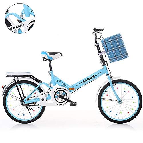 SSQIAN Pieghevole per Bicicletta Pieghevole per Bicicletta Bicicletta per Bambini Pieghevole per Mountain Bike 20 Pollici Uomini E Donne Bicicletta Smorzata Parafango,Blue,6 Speed