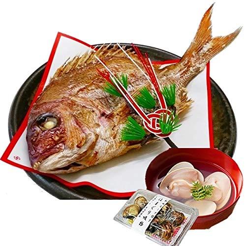 お食い初め 鯛 はまぐり セット 300g 山形県産 天然 真鯛 冷蔵 敷紙 飾り