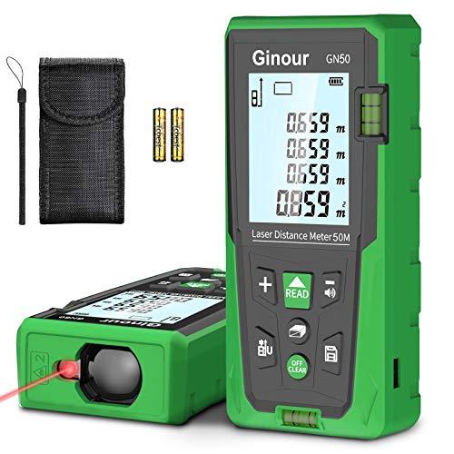 Telémetro láser, Ginour 50m Medidor Láser de Distancia, Precisión ±1.5mm, 99 Almacenamiento de Datos, Pantalla retroiluminada LCD, con 2 Burbujas, Cálculo de Distancia, Área, Volumen, Pitágoras