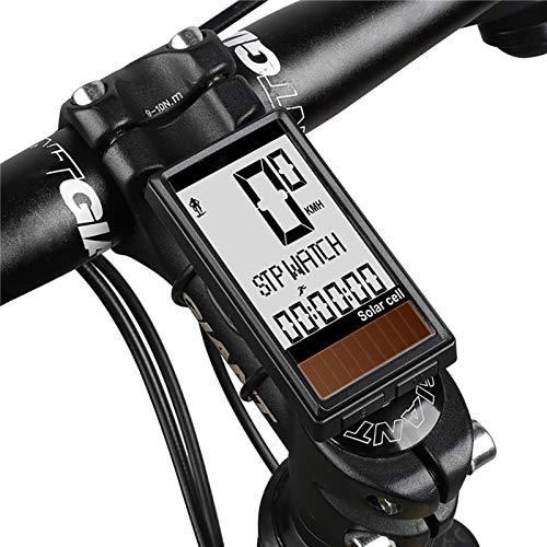 HUIGE Wireless Solar Velocímetro De La Bici, Velocímetro De La Bici del Odómetro, IPX6 Impermeable Bici De La Computadora del Despertador Automático De Carretera Ciclo Al Aire Libre Y De La Aptitud