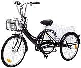 Aohuada 24 Zoll Zahnräder Dreirad für Erwachsene 6 Gänge 3 Rad Fahrrad Dreirad Pedal mit Warenkorb Erwachsenendreirad Shopping Fahrradfür Erwachsene Adult Tricycle Comfort Schwarz