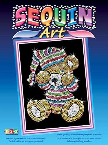 MAMMUT 8040616 - Sequin Art Paillettenbild Teddybär, Steckbild, Bastelset mit Styropor-Rahmen, samtige Bildvorlage, Pailletten, Steckstiften, Anleitung, für Kinder ab 8 Jahre