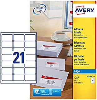 Avery J8160-10 Self-Adhesive Address/Mailing Labels, 21 Labels per A4 Sheet