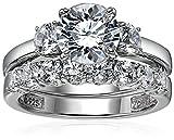 Sterling Silver Platinum-Plated Swarovski Zirconia Three Stone Ring, Size 7