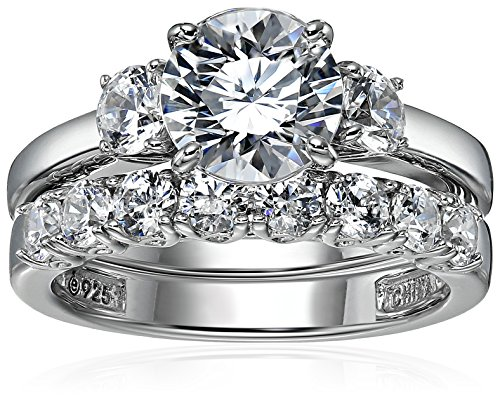 Sterling Silver Platinum-Plated Swarovski Zirconia Three Stone Ring, Size 6