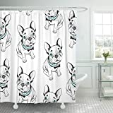 Abaysto Gray Frenchie French Bulldog on Funny Dogs Blue Eyes Bathroom Decor Shower Curtain Sets with Hooks Polyester Fabric Great Gift