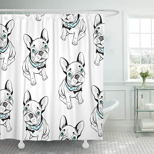 JOOCAR Design Duschvorhang, graue französische Bulldogge auf lustigen H&en & blauen Augen, wasserdichter Stoffstoff, Badezimmer-Dekor-Set mit Haken